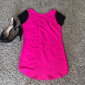 Hot Pink and Leather Tobi Shift Dress
